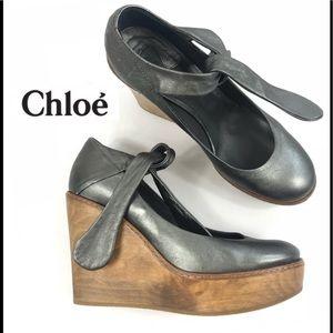Chloe Maryjane Metallic Leather Wooden Platform 7